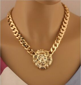 Queen-Style-Lion-Head-Pendant-Gold-Statement-Choker-Chunky-Necklace-amp-Earrings