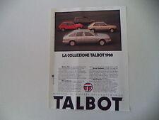 advertising Pubblicità 1979 TALBOT SIMCA 1510/HORIZON/SUNBEAM/MATRA RANCH