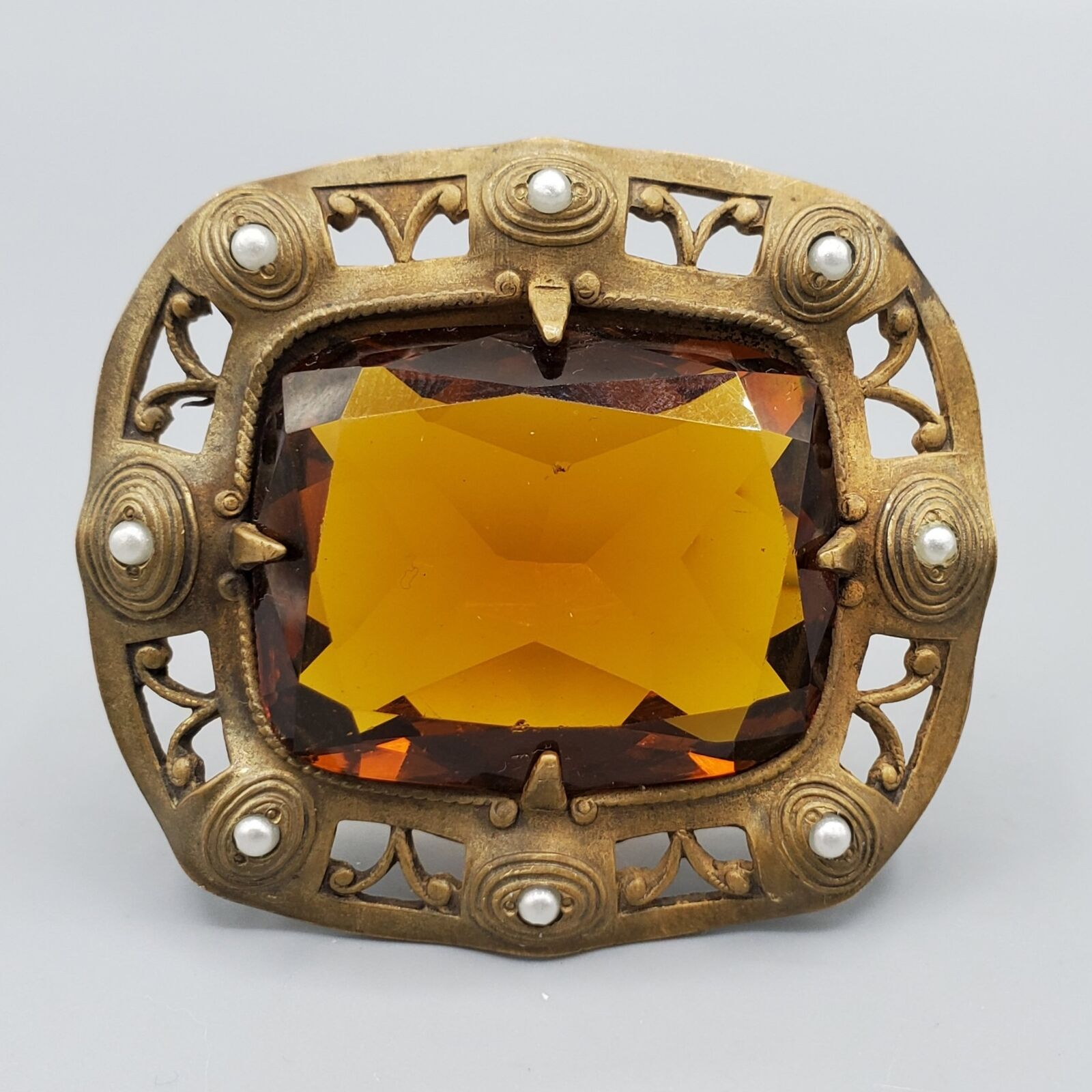 Antique Art Nouveau Topaz Glass Seed Pearl Brass Brooch Sash Pin