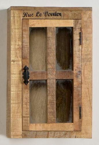 Hängeschrank Mangoholz Natur Antik Antikschwarz 44 x 21 x 70 cm