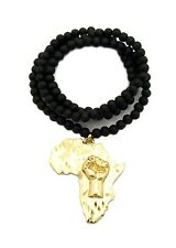 "New Fist Power Africa Pendant & 30"" Wooden Bead Chain Hip Hop Necklace RC1930GBK"