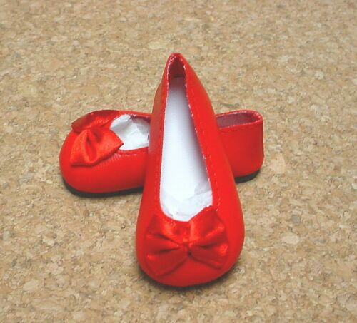 """12/""""Shirley T, 37mm RED Bow Trim Slip ons  for *Bleuette Doll Shoes"""