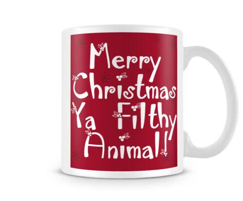 Funny gift printed mugs cup Christmas XMAS/_011 Merry Christmas ya filthy animal