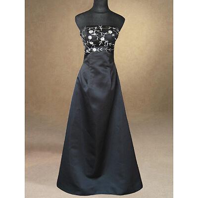 BLACK FORMAL BRIDESMAIDS/EVENING/WEDDING/PROM/PARTY DRESS BALLGOWN 8,10,12,14