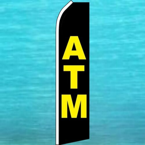 ATM FLUTTER FLAG Tall Curved Top Advertising Sign Feather Swooper Wind Banner