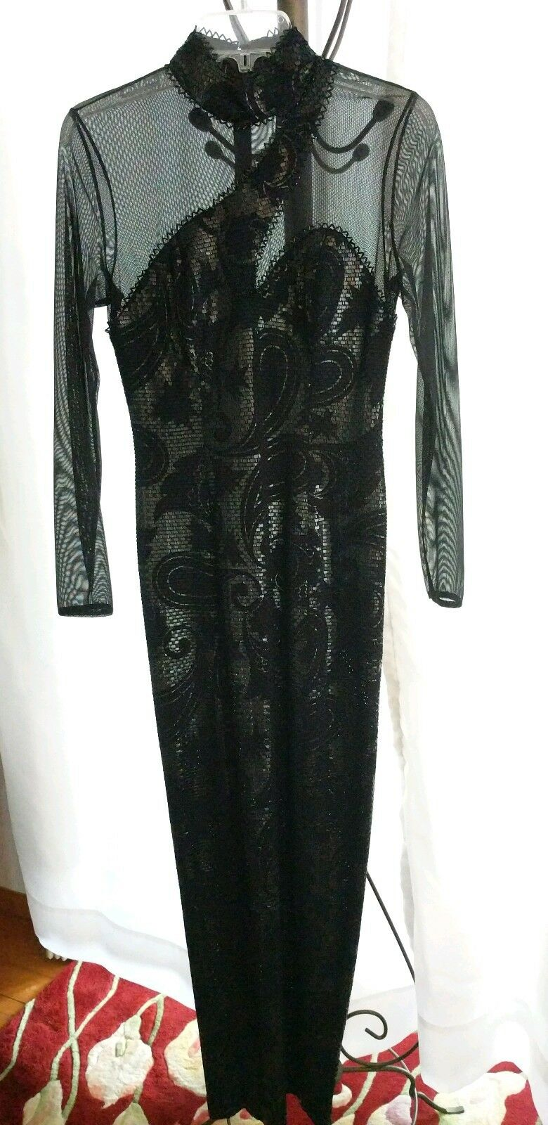 VINTAGE JANINE ITALY SEQUIN CUT OUT SNAKE SKIN ILLUSION WIGGLE DRESS  SZ.SMALL
