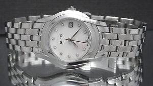 9129f1343a7 Gucci YA055501 Diamond Mother-of-Pearl Dial 5500L Series Women s ...
