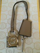 Michael Kors Logo Silver Lock & Key Charm Dark Dune Leather Strap Handbag Fob