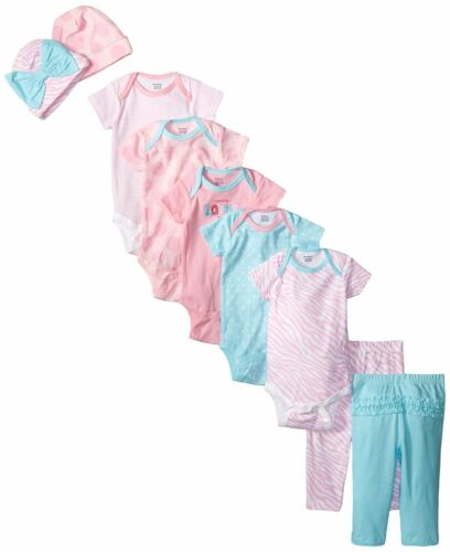 Gerber Baby Girls/' Pink Love 9 Piece Pants and Caps Playwear Bundle Gift Set