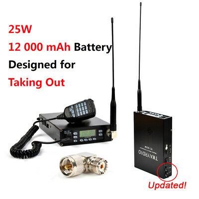 Portable 25W VHF/UHF Ham Radio Transceiver 12000mAh battery 199CH PL259 Antenna