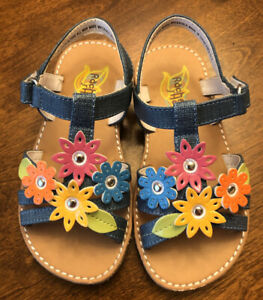 Rachel-White-Sandals-With-Multi-color-Flowers-Ankle-Cuff-child-size-8-Shoes