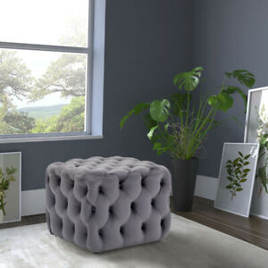 Chesterfield Footstool Coffee Table Sofa Bench Velvet Stool Ottoman Pouffe Chair