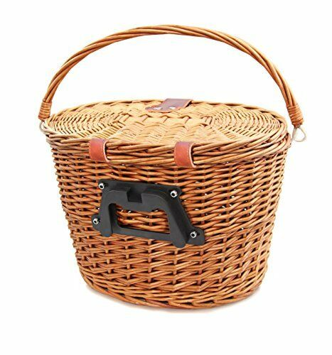 Colorbasket 01587 Adult Front Handlebar Wicker Bike Basket with Lid, Quick Re...