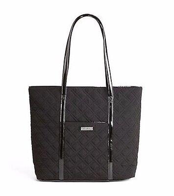 "VERA BRADLEY Trimmed ""VERA"" Tote Classic BLACK Purse Bag Travel Work $108 SuPeR!"