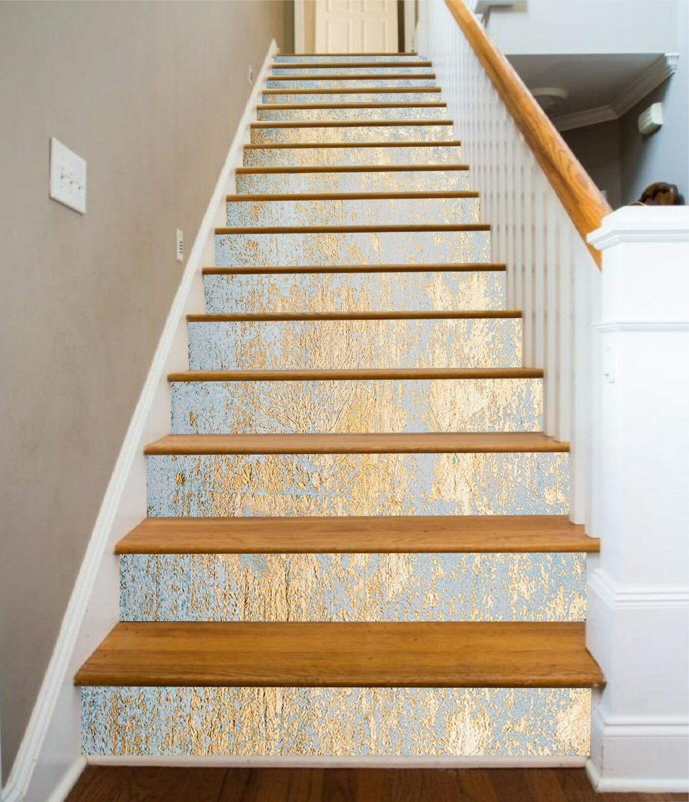 3D golden Abstract 7 Tile Marble Stair Risers Photo Mural Vinyl Decal Wallpaper
