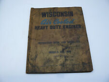 Original Wisconsin Air Cooled Engine Abn Akn Instruction Amp Parts List Manual