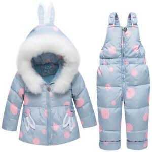 Kids Boys Girls Toddler Snowsuit Puffer Fur Hooded Down Jacket Coat Outfits Xmas