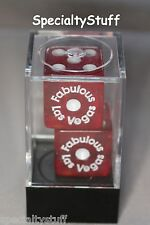 "2 NEW FABULOUS LAS VEGAS DICE BOXED 19mm RED WITH WHITE NUMBERS 3/4"" 1-6 (EG)"