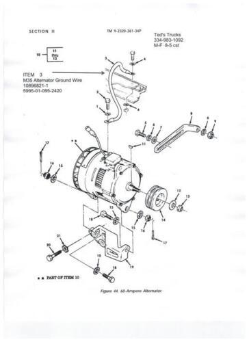 """13.4/"""" 5995-00-930-4288,M134861//1-9,#8 copper M35 Starter Ground Wire,10896820"""