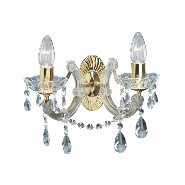 Searchlight marie therese 2 lights brass crystal wall bracket marie therese classic twin wall light in polished brass finish 699 2 mozeypictures Image collections