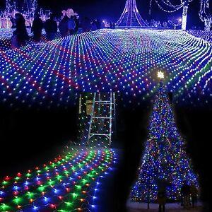LED-Lichternetz-Vorhang-Garten-RGB-Lichter-Netz-Beleuchtung-Weihnachten-Warmweiss