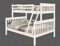 Children Triple Sleeper Wooden Bunk Bed Twin Kids + Ladder Solid White Strong
