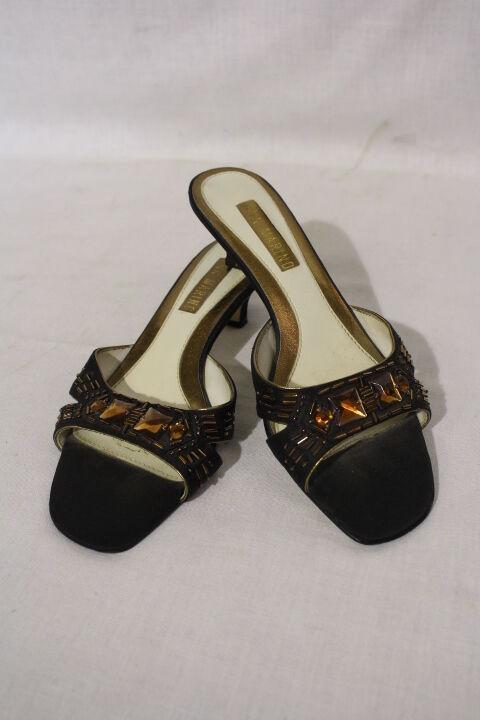 ANN MARINO Beaded/Jeweled Black & Copper Mules, # C136, Womens Size 6M B25