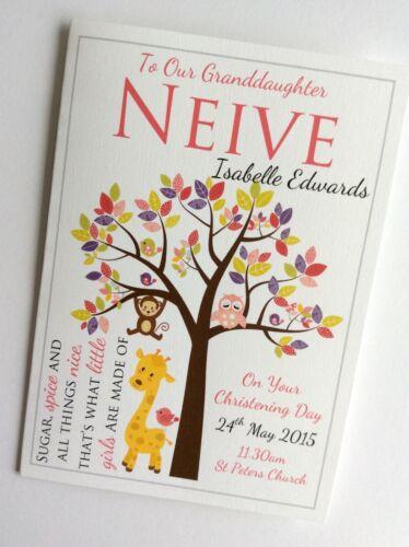 Zoo Animals in Tree Personalised Handmade Girls Christening or Baptism Card