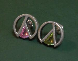 Schoene-925er-Silber-OHRSTECKER-rund-m-verschiedenfarbigen-STEINEN-mattiert