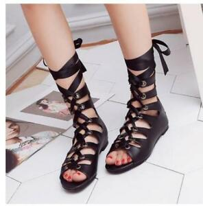 f64c29b91 Details about Women's Cut Out Flats Casual Sandals Gladiator Boots Lace Up  High Top Shoes Size