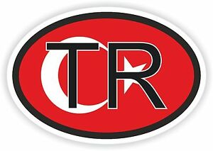 TR FLAG TURKEY COUNTRY CODE OVAL STICKER bumper decal car HARD HAT BIKE HELMET