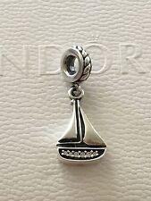 Authentic Pandora Silver Sail Away Boat Dangle Charm Bead 791138CZ Retired