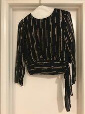 P.C.F. Petite Styled By Donald Curtis Black & Gold Size 10 Top Side Tie Rayon