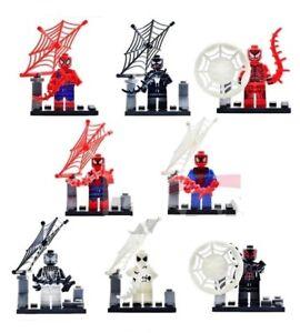 6 8 pcs Spider Man Mini Figures NOUVEAU VENDEUR BRITANNIQUE s'adapte Major Brand Blocks Spider-Man-afficher le titre d`origine KFMCF1lj-08130821-320990621