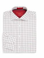 Saks Fifth Avenue Red Men's Trim Fit Dress Shirt Window Pane 14.5 To 17.5