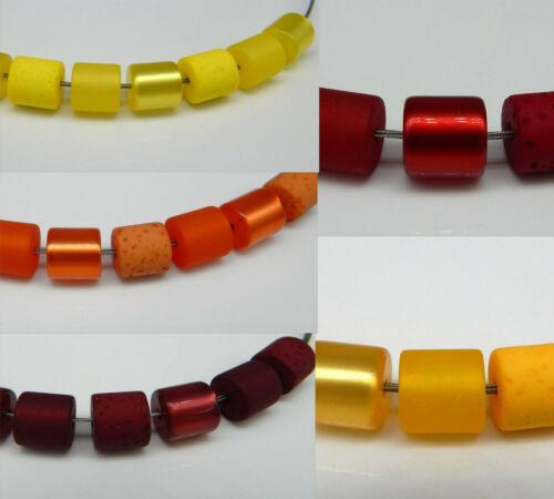 POLARISPerlen 10mm Walzen Röhren Mix matt glänzend Gala ROT GELB etc Farbauswahl