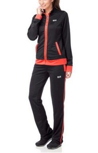 2tlg. TUTA H.I.S Tg 3640 Donna Nero Arancio Fitness Jogging Laufen