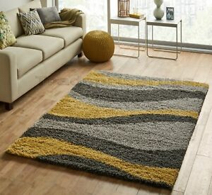 SMALL-X-LARGE-THICK-GREY-SILVER-OCHRE-MUSTARD-YELLOW-WAVES-MODERN-SHAGGY-RUG