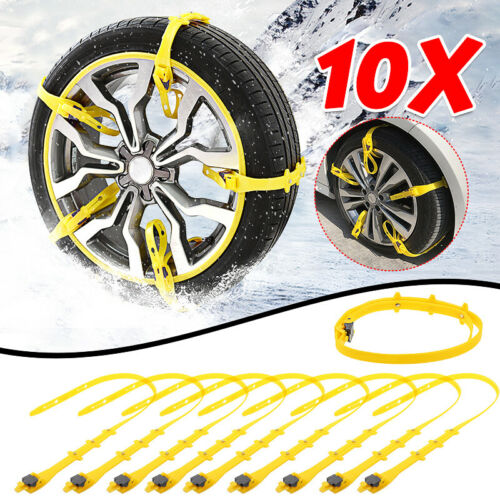 10x Winter Car Anti-skid Snow Tyre Tire Wheel Chain Beef Tendon Nylon Strap