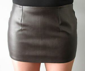 Sexy dark brown fake leather 12 inch mini skirt all sizes | eBay