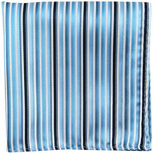 New men/'s poly striped pocket square hankie handkerchief turquoise blue black