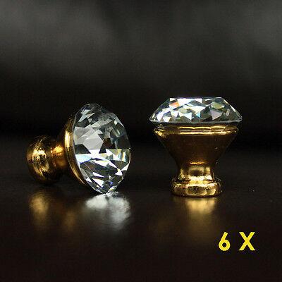 6 pcs crystal glass golden base drawer knobs cabinet handle pulls