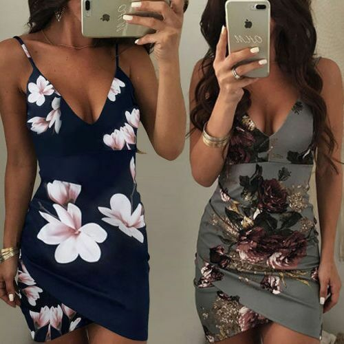 Minikleid Mini Party Kleid Sommerkleid  Bodycon Etuikleid Blumen Clubwear BC493