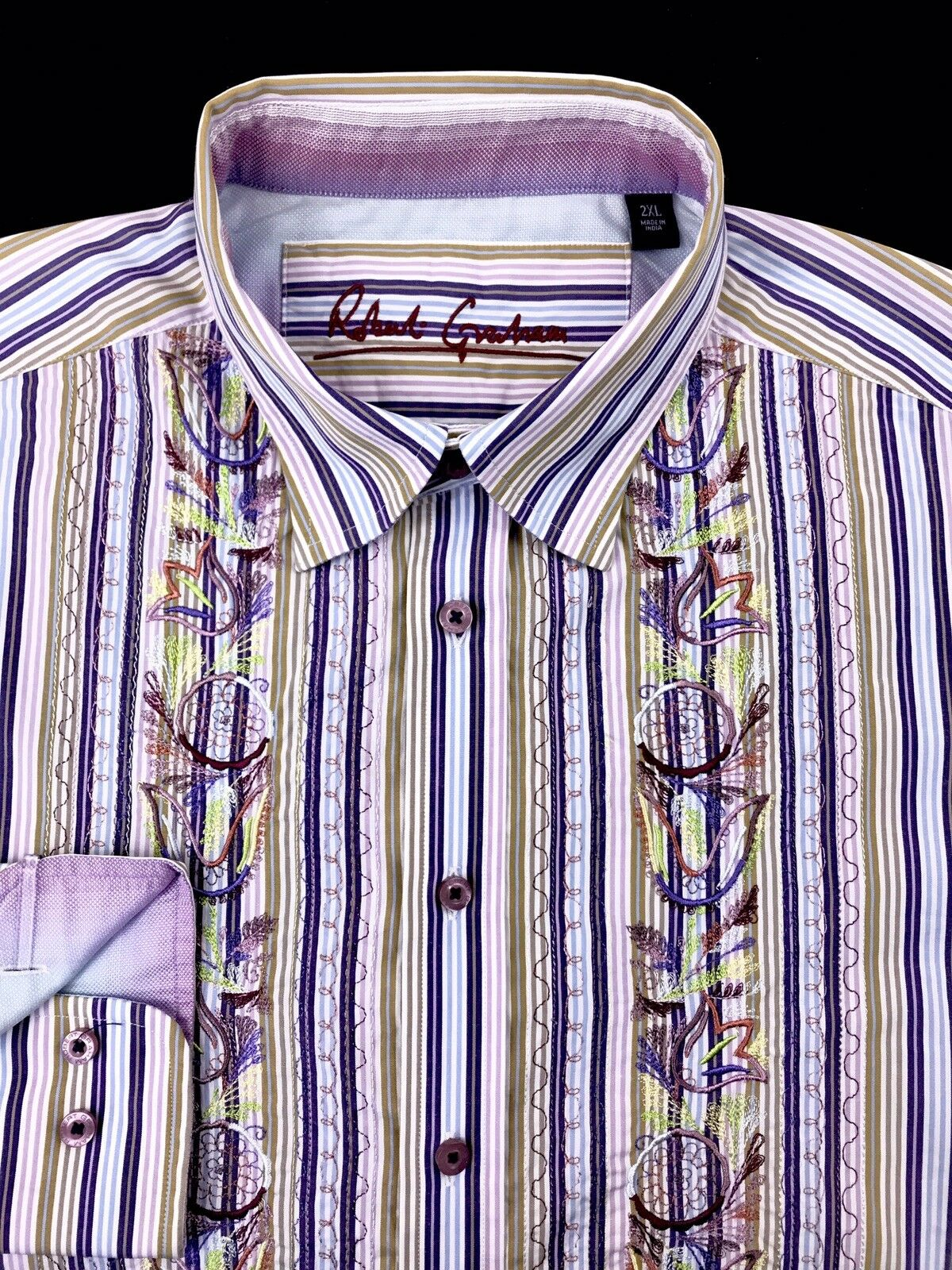 Robert Graham Mens Multi-color Striped Embroidered Floral Button Front Shirt 2XL