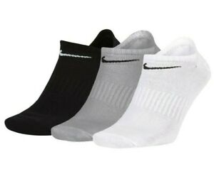 Details about 3 PACK NIKE Logo No Show Ankle Socks, Pairs Men's Women's -  Black White Grey