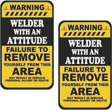 "2 - 4""x2.4"" Welder Warning Attitude Decal SET MIG ARC TIG Motorcycle Sticker WS2"