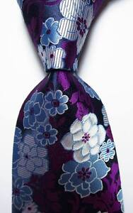 New-Classic-Floral-Purple-Blue-White-JACQUARD-WOVEN-100-Silk-Men-039-s-Tie-Necktie