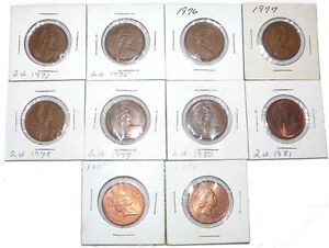 Two-Pence-Coin-Lot-UK-Great-Britain-1971-1975-1976-1977-1978-1979-1980-1981-1985