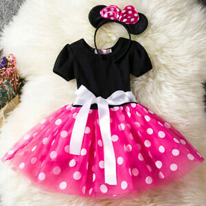 Kids-Girls-Baby-Toddler-Minnie-Mouse-Party-Dotted-Tulle-Dress-Hair-Hoop-2pcs