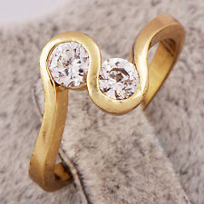 Stylish Gold plated Clear crystal 2-Hands Pattern Womens Ring Size 7